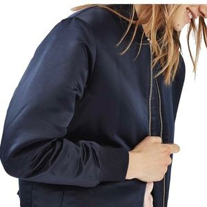 Top Shop mid-weight navy satin bomber. Size 4